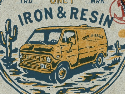 Iron and Resin Van handdrawn badge design merchandise t-shirt logo vintage car vintage design car van vintage