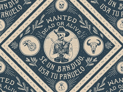 Wanted Dead or Alive western skull bandana vintage badge t-shirt design branding illustration badge design vintage