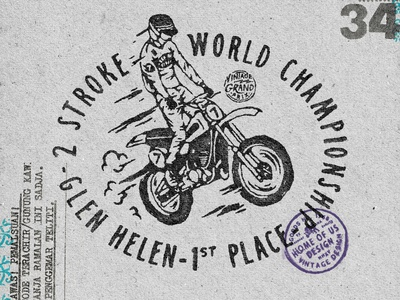 Sea of Seven: Glen Helen clothing motocross motorcycle handdrawn vintage badge t-shirt design branding illustration badge design vintage