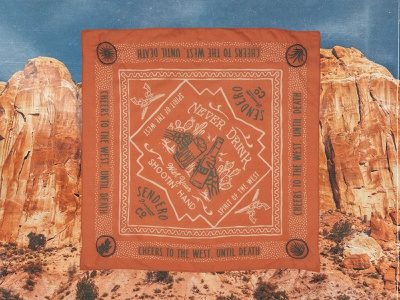 Never Drink With Your Shootin' Hand cowboy gun skeleton skull cactus western design western desert bandana design bandana