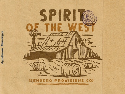 Spirit of The West farming farm western typography design for sale handdrawn vintage design vintage badge t-shirt design branding illustration badge design vintage