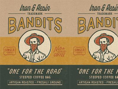 Bandits Coffee Bag Design badges retro vintage packaging packaging branding illustration badge design vintage