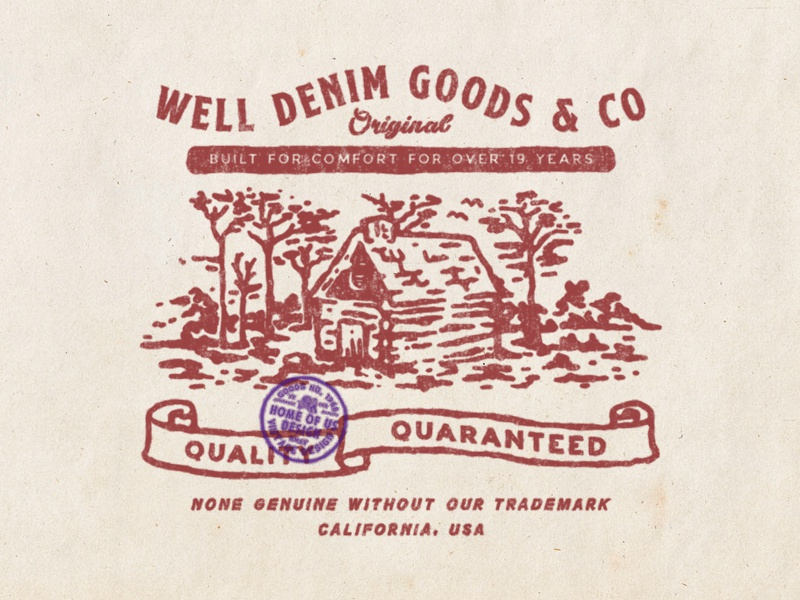 Well Denim Co. design available design for sale t-shirt design badge vintage badge old vintage printing label design