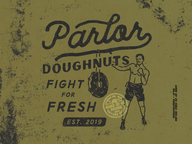 Parlor Doughnuts dust boxing old vintage poster doughnuts badge design t-shirt design design