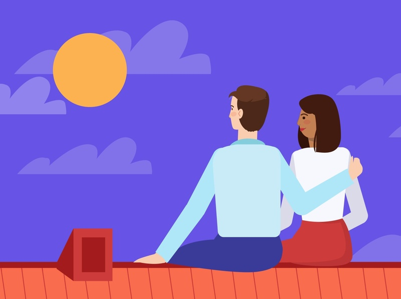 Planning your financial future sitting on the roof animated video company animated video sun moon nightsky sky style woman roman love night characeters animation romantic couple family future roof