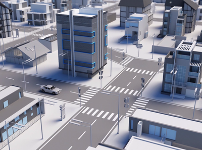 Smart Car in a Smart City corporate video company illustration animated video 3d building transfer transport road streets town city infrastructure vehicle smart city smart car smart