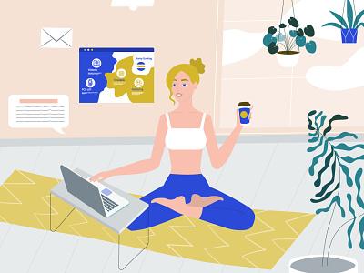 Work and enjoy yoga site yoga branding design illustration best corporate videos animated explainer video animated marketing videos animated video