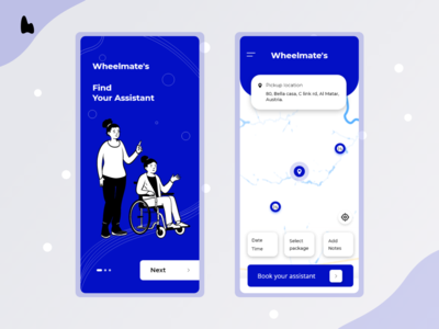 Wheelmate's ux design ui assistant healthcare disabled typography ux illustration vector uidesign colors design