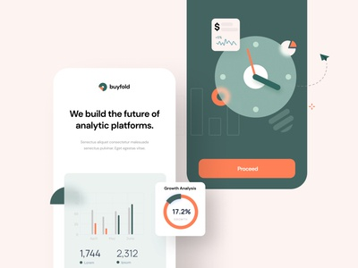 Buyfold: Mobile App Screens creative agency ui  ux ui design data analysis data visualization mobile app design splashscreen mobile app uidesign mobile ui onboard onboarding splash creative