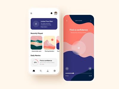 Meditation app concept daily ui ux  ui mobile ui ui colors app design focus app focus meditation app meditation meditate