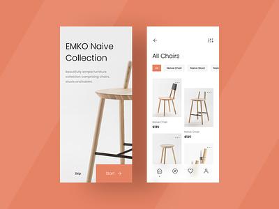 Furniture App flat minimal design ux design app ux ui uidesign colors creative