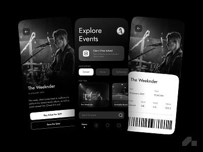 Minimal Event booking app ui ux ux design typography black  white app minimal monotone uidesign design creative