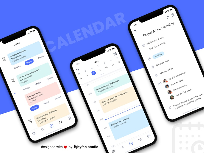 Calendar App Concept UI app mobile app events app calendar app creative agency ux colors vector ui ux design uidesign hyfenstudio creative design