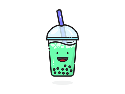 Iced Matcha Bubble Tea 😉 art dribbble sticker fun icon happy smile illustration vector doodle color milk tea iced tea tea boba tea bubble tea