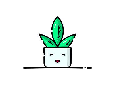 Happy little plant 🌿😊 art dribbble sticker fun icon cute happy smile illustration vector doodle color leaves nature cuteplant plant