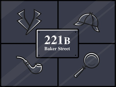Sherlock Holmes mystery 221b baker street icon bbc sherlock detective sherlock holmes illustration