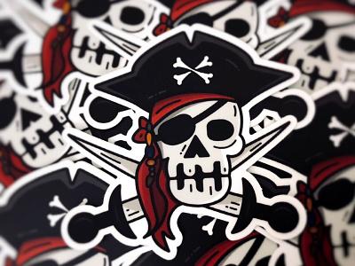 Stickers   Aye Captain!! 💀🎃 pirates vector sticker mule sticker skull illustration icon halloween fun design captain