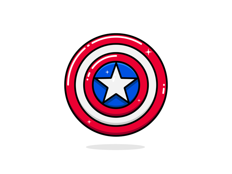 Captain America Shield sticker mule captain america superhero marvel star contest rebound playoff coaster sticker vector