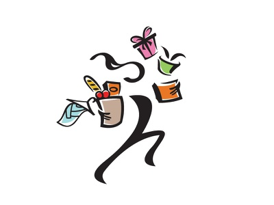 Courrier Illustrations illustration playful swift service groceries courrier
