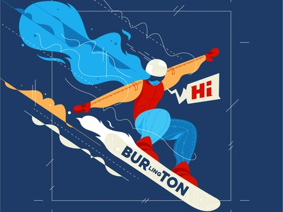 Burton Boarder woman girl winter sports vermont snowboard art vector illustration