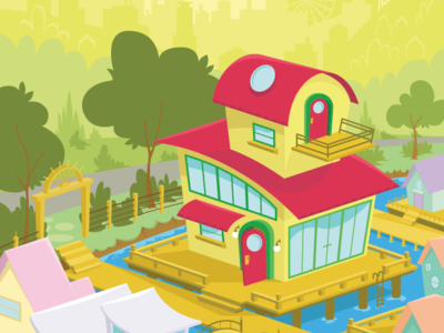 Seattle Boat House houseboat red cartoon summer seattle house vector illustration
