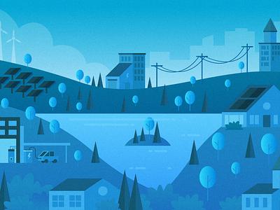 Green energy scene vector building power eco solar trees town city brand blue illustration