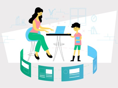 Mom with Son character design vector illustration uiux app school homeschool education