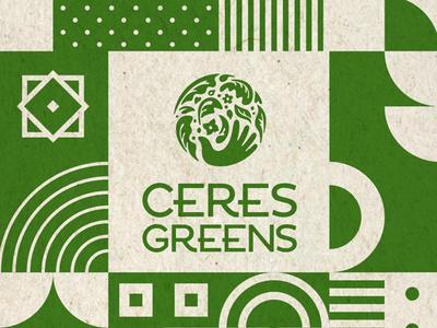 Ceres Greens Branding & Pattern Green texture startup produce flowers leaves geometric globe hand logo vermont pattern green illustration