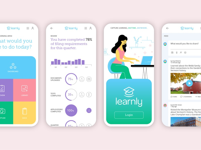 Learnly App Screens data visualization user interface user experience ui design product design uiux character design icons education clean ui app design