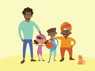 Mahlik Plays Ball - family character design family woman man girl vector basketball cat african american character design illustration