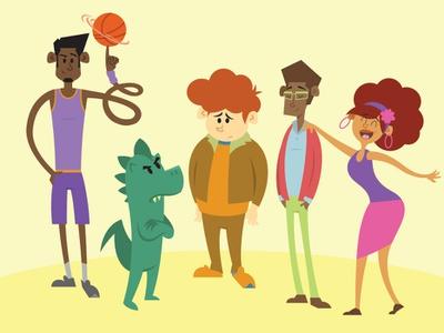 Mahlik Plays Ball - friends character design baller basketball couple kid dinosaur african american character design vector illustration