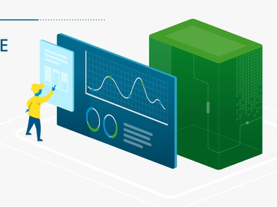 Data Visualization 1 of 4 screen monitor chart blue green data viz character design vector illustration