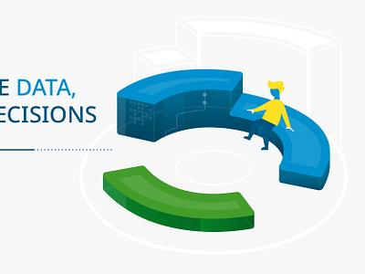 Data Visualization 3 of 4 seat green display ad chart data viz blue character design vector illustration