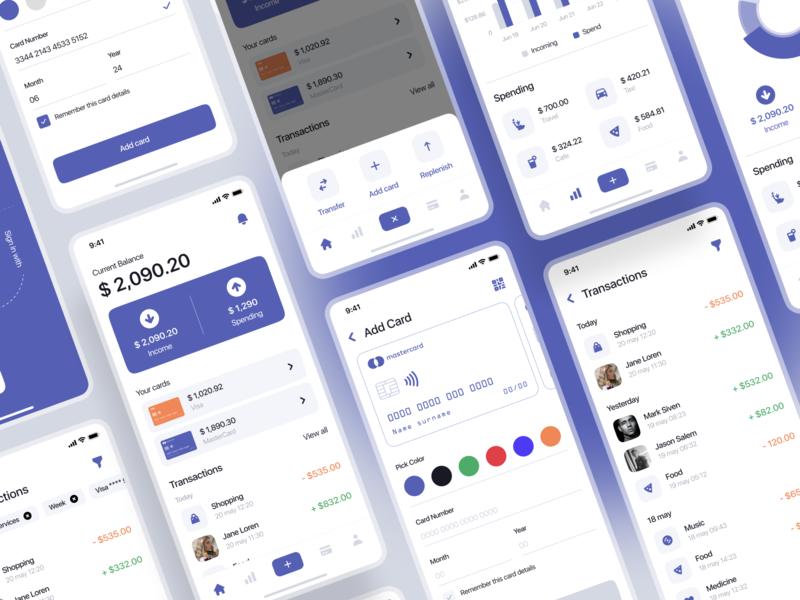 Banking. ui kit / part one banking app bank app banking gumroad mobile app design mobile app mobile design mobile ui mobile uiux ui ui8net ui8 ui kits ui kit finance app finance fintech app fintech