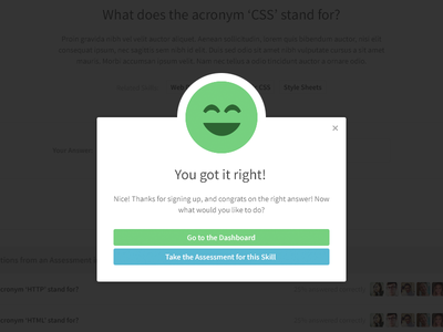 You got it right! modal answer correct smiley face flat buttons skillset web app