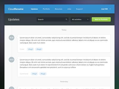 Portfolio Updates timeline flat cloudresume updates activity feed