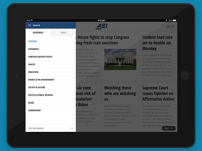 AEI Menu ipad app search list reader article news ios
