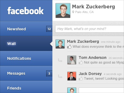 Facebook for iPad web ui facebook social app ipad