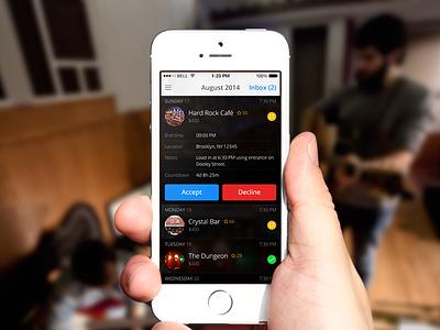 Showslinger App iphone application accept decline buttons list calendar event music
