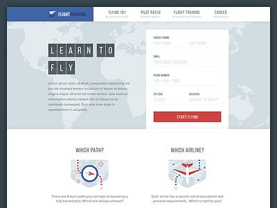 Flight Training landing splash website form icons travel world flipper flipboard