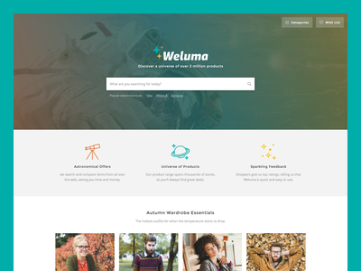 Weluma Homepage site products banner page home features shopping search space hero landing