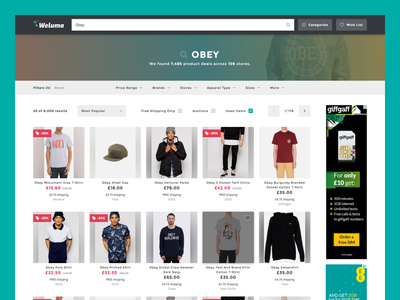 Weluma Products site products banner page shopping search grid listing product