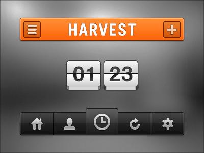 Harvest app time track flip menu nav tab bar clock ios iphone app