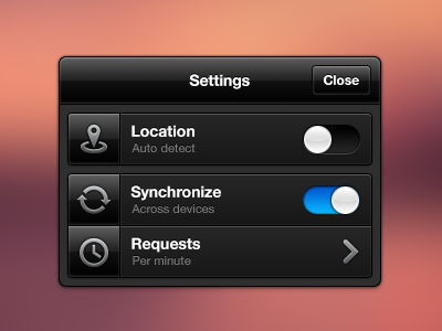 Settings modal popup location sync requests toggle switch window ui