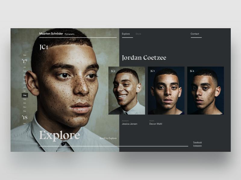 Maarten Schröder model app web ux ui drag scroll type minimal photography fashion