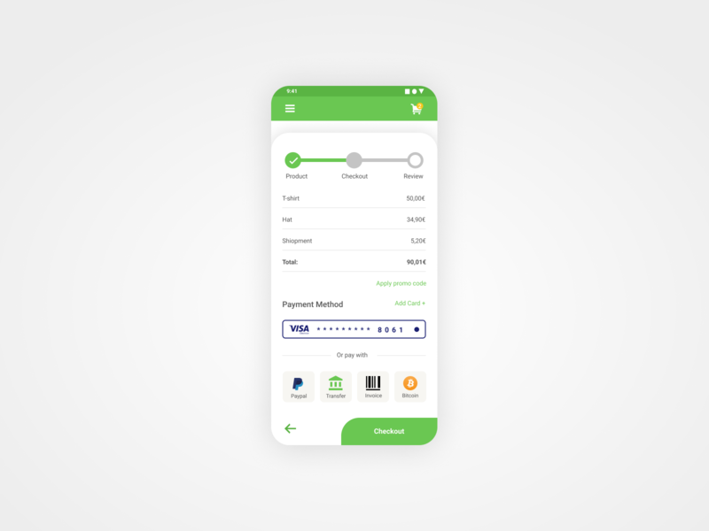 Daily UI 02 - Credit Card Checkout vector minimal web flat design clean app ux ui mobile