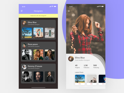 Designer App Concept Like Social flat screen mobile design app ui