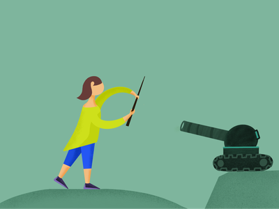 Girl defending with tank - Illustration website design flat ui app illustration illustrations