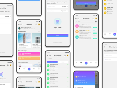FM App - Building Management Mobile App gradients illustrations ux ui app