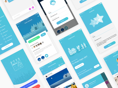 Event App - Organize event and invite friends flat branding illustration illustrations ui app design app